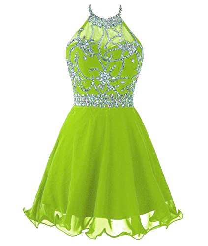 Lime Short Chiffon Dresses Women's Prom Bess Backless Green Beaded Halter Bridal xwYZUxzqIg