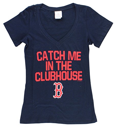 (5th & Ocean Womens Boston Red Sox Catch Me in Clubhouse T Shirt Navy Blue S)