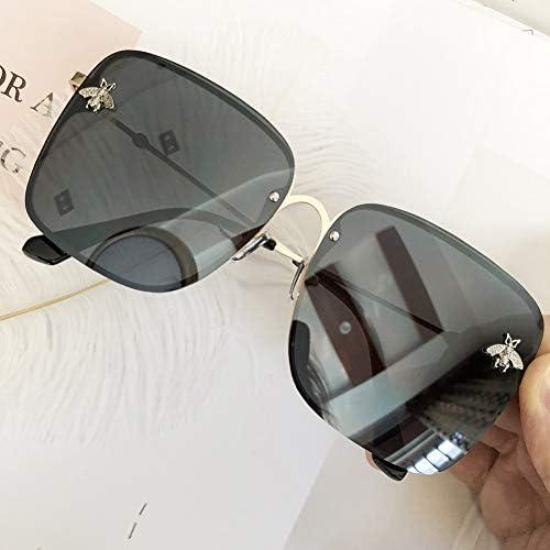 ZJIEJ Lunettes de Soleil Oversize Rimless Square Sunglasses Women Fashion Small Bee Glasses Gradient Sun Glasses for Female