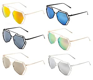 Geometric Wire Metal Lattice Frame Sunglasses