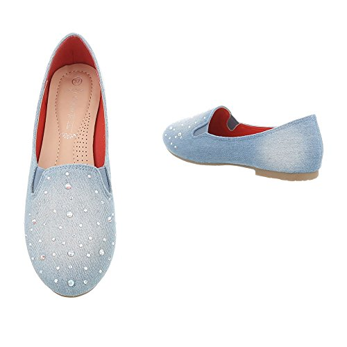 Slipper Damenschuhe Slipper Blockabsatz Slipper Ital-Design Halbschuhe Blau C7109