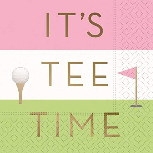 It's Tee Time Cocktail Napkins - Fun Golf Design, Party Supplies, 16 Beverage -