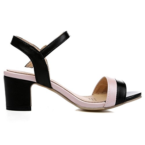 TAOFFEN Mujer Sandalias Moda Tacon Ancho Tacon Medio punta abierta Al  Tobillo Zapatos Negro ... 455d3d985795