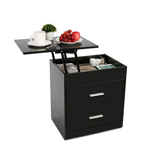Upgrade Nightstand with Lifting Top, Bedside Desk Height Adjustable Laptop Table with 2 Drawer Storage Cabinet Removable…