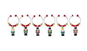 Boston Warehouse Nutcracker Wine Charms, Set of 6