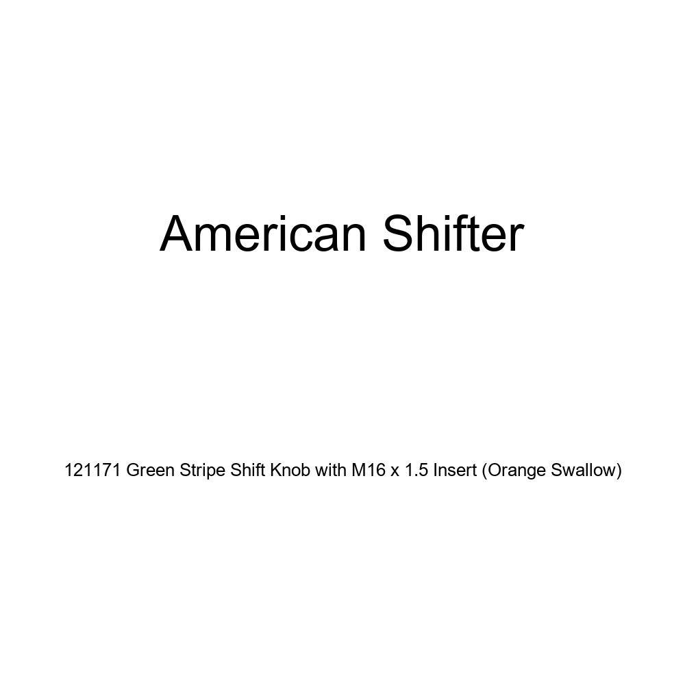 American Shifter 121171 Green Stripe Shift Knob with M16 x 1.5 Insert Orange Swallow