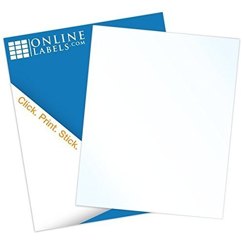 Waterproof Vinyl Sticker Paper - 8.5 x 11 Full Sheet Label - 100 Sheets - Laser Printer - Online Labels (Vinyl Laser Printer Labels)