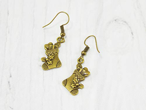 Handmade Bronze christmas stockings stuffers earrings Holiday themed jewelry for women