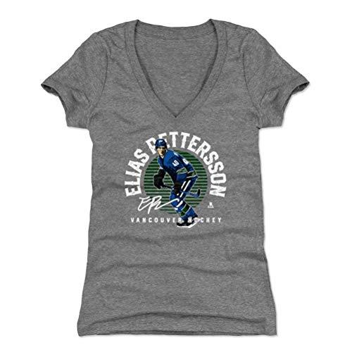 500 LEVEL Elias Pettersson Women's V-Neck Shirt (Small, Tri Gray) - Vancouver Canucks Shirt for Women - Elias Pettersson Emblem G WHT