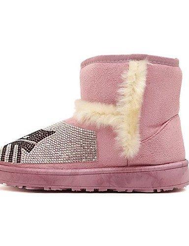 Tacón Cn36 us8 Pink Eu39 Redonda Botas Xzz Marrón Zapatos Casual Punta Negro Mujer Eu36 Cn40 Uk4 Rosa us6 5 5 Plano De Brown Uk6 Piel Nieve Zqn4w1tn