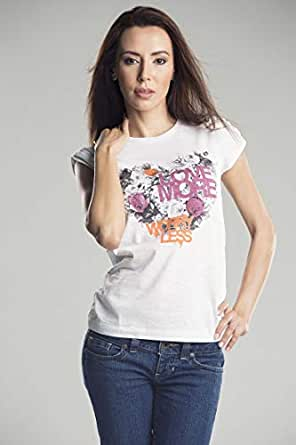 White T-Shirt Love More For Women Size - S