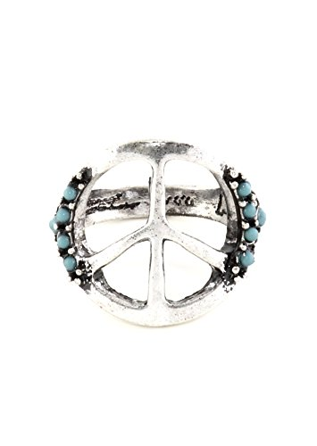 Peace Sign Ring Size 7 Flower Power Anti War Statement Silver Tone RK23 Cocktail Fashion Jewelry
