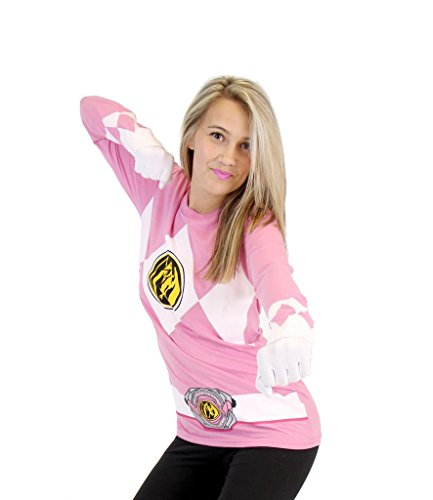 Power Rangers Pink Ranger Long Sleeve T-Shirt & Gloves (Adult Medium) ()