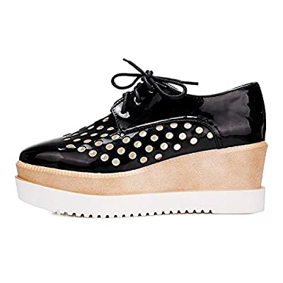 Maybest Womens Hollow Out Lace-up Fashion Wedge Mid Heel Oxfords Shoes
