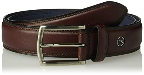 - Nautica Men's 100% Leather Belt with Dress Buckle and Stitch Comfort, Burgundy, 36