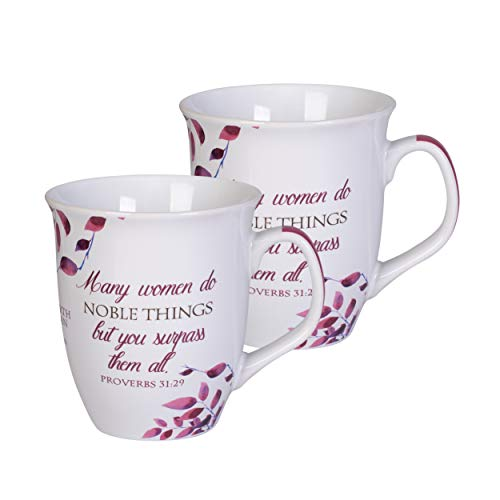 Proverbs 31 Woman Pink White Leaves 16 Ounce Ceramic Stoneware Coffee Mugs Set of 2
