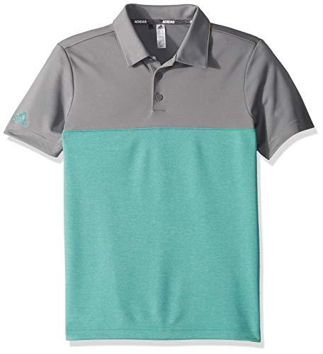 adidas Golf Heathered Color Blocked Polo, Grey Three/True Green Heather, Large