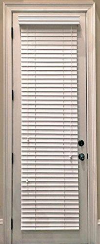(Custom-Made, Faux Wood Horizontal Window Blinds for Doors, Snow White (Stark White,) 2 Inch Slats, Outside Mount)