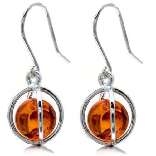 Honey Amber Millennium Collection Sterling Silver Round Earrings