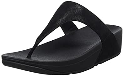 FitFlop Womens Shimmy Suede Toe-Thong Sandals Shimmer,Black,5