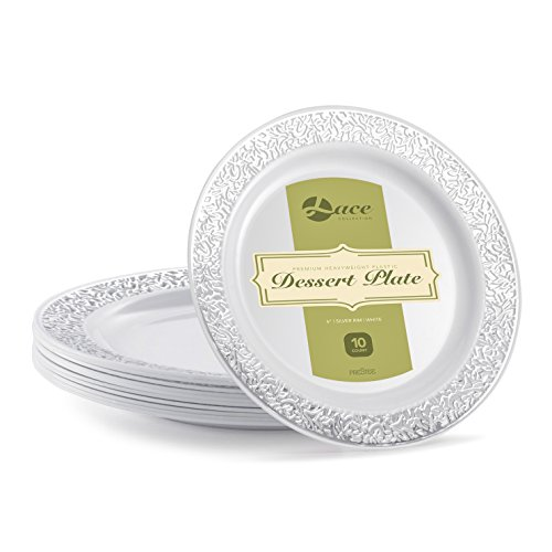 LACE PLASTIC PARTY DISPOSABLE PLATES | 6 Inch Hard Round Wedding Dessert Plates | White with Silver Rim, 40 Pack | Elegant & Fancy Heavy Duty Party Supplies Plates for all Holidays & Occasions