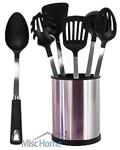 [UTENSILS + HOLDER] 6 Pcs Stainless Steel Kitchen Utensil Set + Stainless Steel Rotating Cooking Utensil Holder Premium Quality Stainless Steel Cooking Tools [Black]