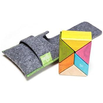 6 Piece Tegu Pocket Pouch Prism Magnetic Wooden Block Set, Tints