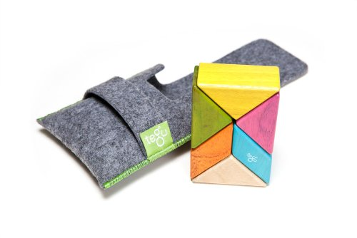 6 Piece Tegu Pocket Pouch Prism Magnetic Wooden Block Set, Tints