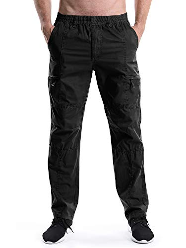 Men's Elastic Waist Relaxed Straight Leg Baggy Pull On Cargo Pants Black Tag 2XL - US 36 (Elastic Waist Button)