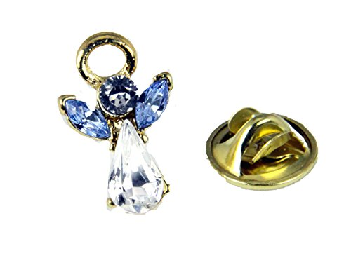 6030599 March Crystal Birth Month Angel Pin Guardian Lapel Brooch Tie Tack