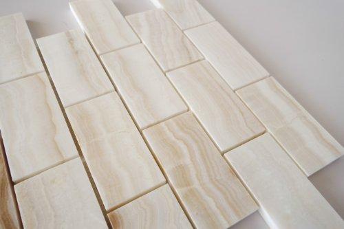 4x4 Sample of 2x4 White Onyx Subway Polished Tiles on 12x12 sheet ...