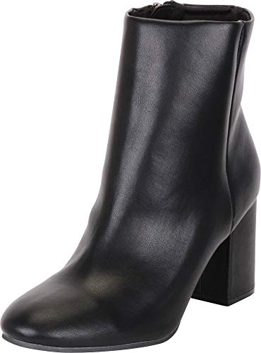 Cambridge Select Women's Classic Chunky Block Heel Ankle Bootie,7 B(M) US,Black PU -