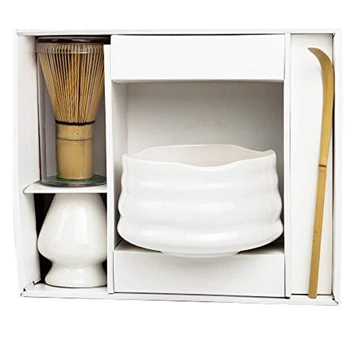 Matcha Starter Set | 4-Pieces Matcha Gift Set - Tea Bowl, 120-Prong Whisk, Chashaku Scoop, Whisk Stand | Elegant Design (White)