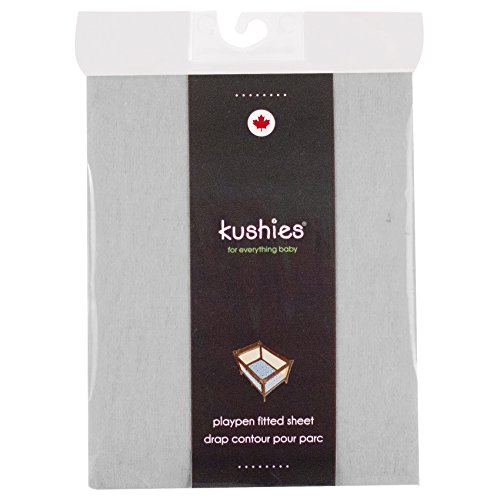 Kushies Pack N Play Playard Sheet, Soft 100% Breathable Cotton Flannel, Made in Canada, Grey (Kushies Baby Toys)