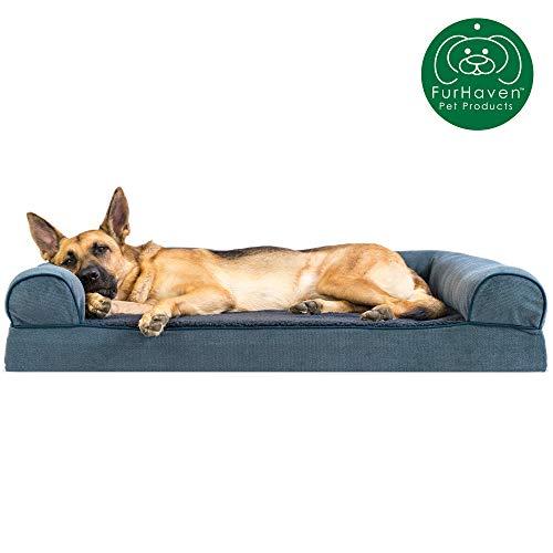 Furhaven Pet Dog Bed | Memory Foam Faux Fleece &...