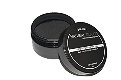 SmoovGroom 100% Natural Teeth Whitening Powder, Tooth Cleaning Powder, Activated Organic Charcoal with Natural Bamboo Toothbrush