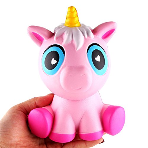 Baomabao 14cm Cream Scented Squishy Slow Rising Squeeze Toys Lovely Pink Fake Unicorn (Fake Trumpet)