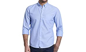 UNTUCKit Hillside - Untucked Shirt for Men, Solid Blue, 100% Cotton