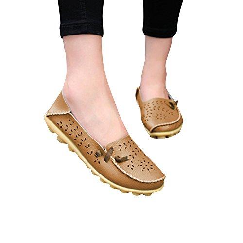 Blivener Femmes Casual Mocassins Creux Chaussures Plates Pantoufles Dété Lightbrown