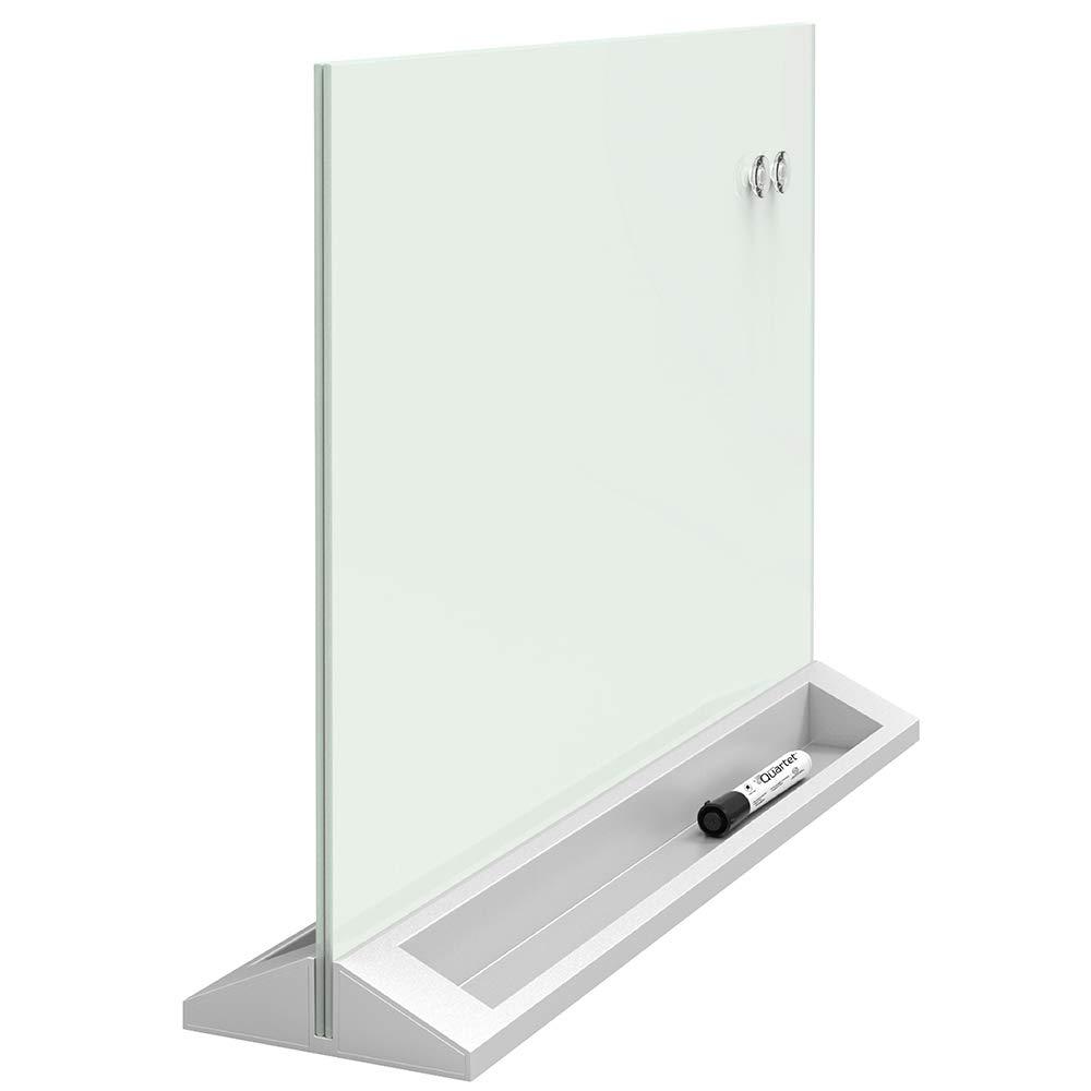 "Quartet Glass Dry Erase Board, Desktop Computer Pad White Board with Storage Drawer, 18"" x 6"", White, Frameless (GDP186) 18"" x 6"" ACCO Brands"