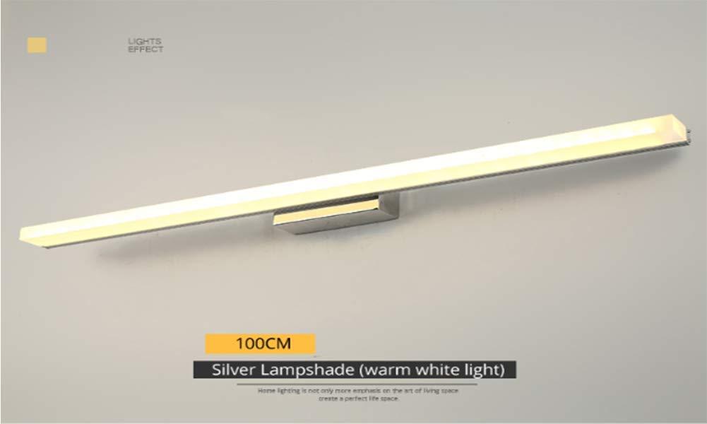 GWQDJ Fari a Specchio a LED Bagno Specchio da Bagno Pittura Lampada da Parete Impermeabile Specchio per Trucco,Silverwarmlight,100CM
