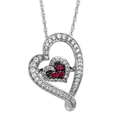 Jewelili Sterling Silver Round Created Ruby With Created White Sapphire Dancing Heart Pendant Necklace (Ruby Pave)