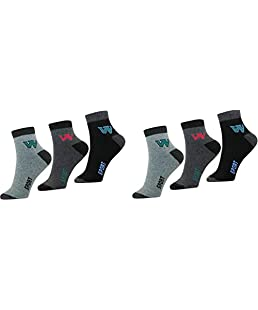 SUPER DEAL BAZZAR STORE Men's Ankle Length Cotton Socks - Pack of 6 (Multicolour, Free Size)