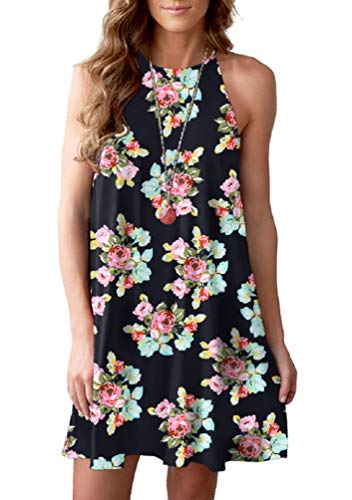 Feiersi Women's Halter Neck Boho Floral Print Loose Casual Sleeveless Short Dress(Small Floral Black,L)