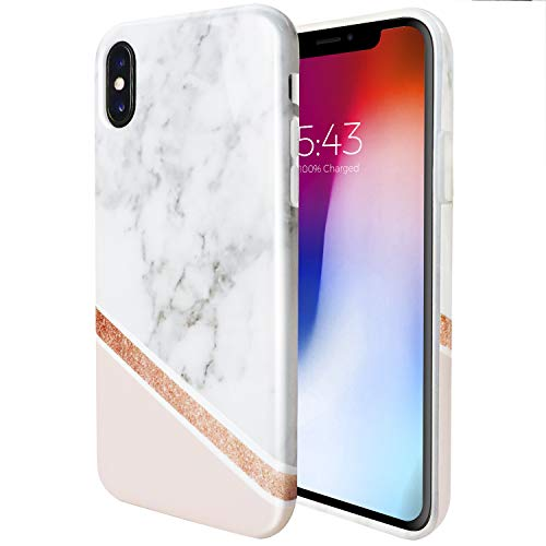 ZUSLAB Marble Pattern for Apple iPhone Xs Case (2018) / iPhone X case (2017) Slim Shockproof Flexible TPU, Soft Rubber Silicone Skin Cover (Marble Delux)