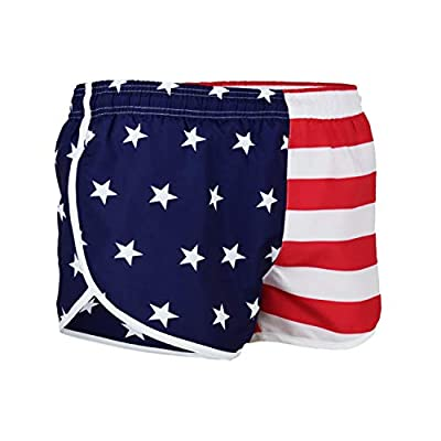 VBRANDED Men's American Flag Side Split Running Shorts with Mesh Linen