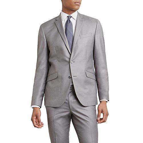 Kenneth Cole REACTION Men's Techni-Cole Stretch Slim Fit Suit Separate (Blazer, Pant, and Vest), Light Grey Basketweave, 44 Long - Basketweave Jacket