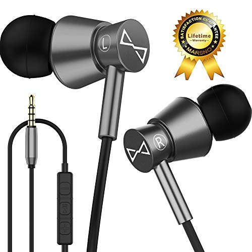 Marsno M2 Wired In Ear Headphones, Earbuds, Full Metal Earphones with Mic and Volume Control, High Definition, Noise Isolating, Deep Bass, Ergonomic Design &Crystal Clear Sound,3.5mm Jack,Grey Housing