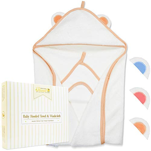Bamboo Hooded Baby Towel - Premium Toddler Bath Towels Set for Babies and Infant - Large Hypoallergenic Baby Towels with Hood for Boys and Girls - Pink, Blue or Brown Perfect Shower Gift ...