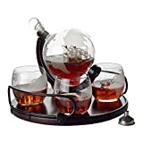 Whiskey Decanter Etched Globe Gift Set - 4 glasses with NEWEST Wood Stand and Handles - Perfect Gift Set for Liquor, Scotch, Bourbon, Vodka
